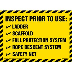 Inspect Prior To Use - Sign