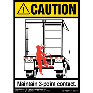 Caution: 3-Point Contact Label, Trailer Swing Door - ANSI