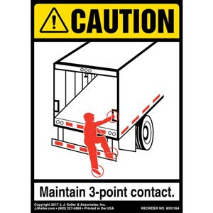 Caution: 3-Point Contact Label, Trailer Roll-Up Door - ANSI