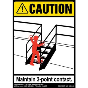 Caution: 3-Point Contact Dock Steps - ANSI Label