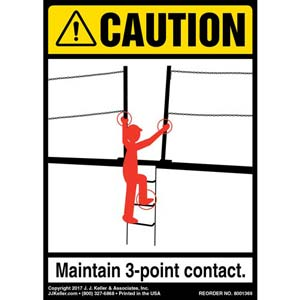 Caution: 3-Point Contact Dock Ramp - ANSI Label