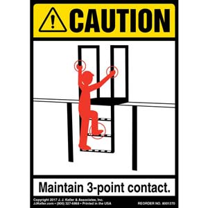 Caution: 3-Point Contact Agricultural/Farm Ladder - ANSI Label