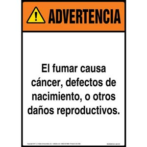 Warning: Smoking Can Cause Cancer, Birth Defects, Reproductive Harm Sign - ANSI, Spanish