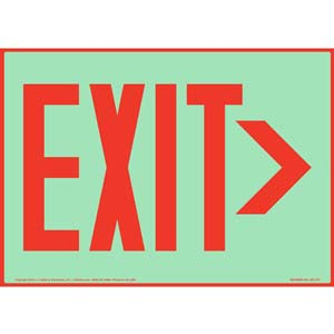 Directional Exit Right Sign - Red, Glow In The Dark