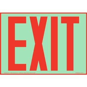 Exit Sign - Red Text, Glow In The Dark