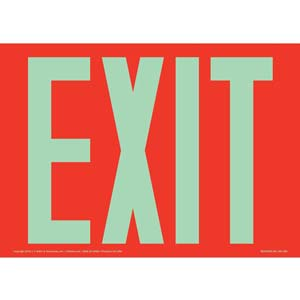 Exit Sign - Glow In The Dark Text on Red