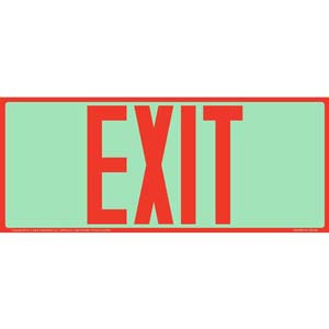 Exit Sign - Long Format, Red Text, Glow In The Dark