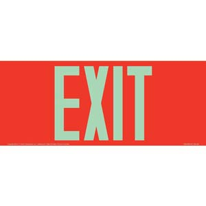 Exit Sign - Long Format, Glow In The Dark Text on Red