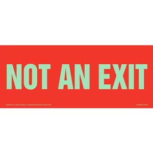 Not An Exit Sign - Red, Long Format, Glow In The Dark