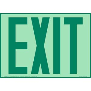 Exit Sign - Green Text, Glow In The Dark