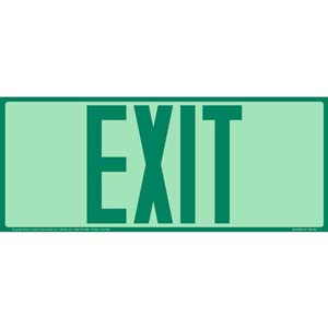 Exit Sign - Long Format, Green Text, Glow In The Dark