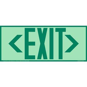 Directional Exit Left or Right Sign - Green, Long Format, Glow In The Dark