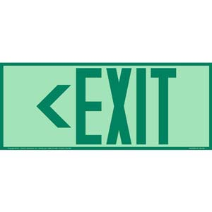 Directional Exit Left Sign - Green, Long Format, Glow In The Dark