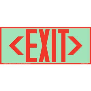 Directional Exit Left or Right Sign - Red, Long Format, Glow In The Dark