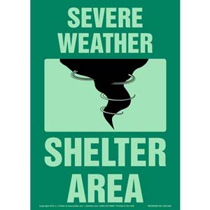 Severe Weather Shelter Area Sign - Glow In The Dark