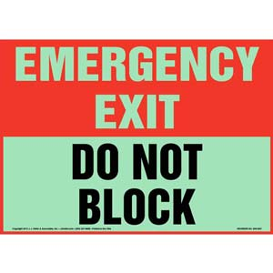 Emergency Exit: Do Not Block Sign - Glow In The Dark