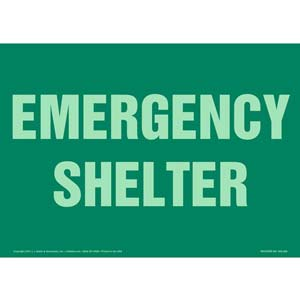 Emergency Shelter Sign - Glow In The Dark
