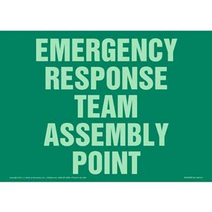Emergency Response Team Assembly Point Sign - Glow In The Dark