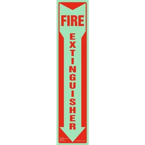 Fire Extinguisher Sign - Down Arrow, Vertical, Glow In The Dark