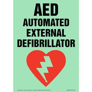 AED, Automated External Defibrillator Sign - Glow In The Dark