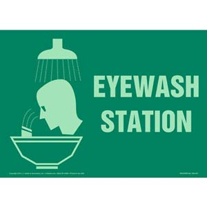 Eyewash Station Sign with Icon - Glow In The Dark