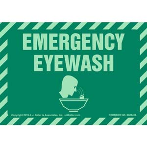 Emergency Eyewash Label with Icon - Glow In The Dark