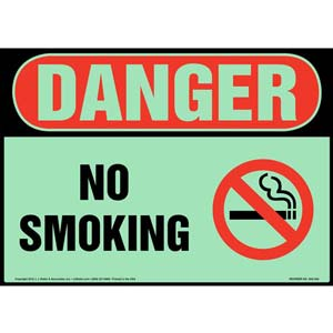 Danger: No Smoking Sign with Icon - OSHA, Glow In The Dark