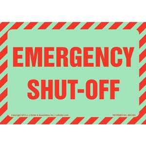 Emergency Shut-Off Label - Glow In The Dark