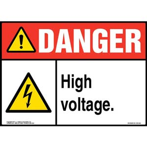 Danger: High Voltage Sign with Icon - ANSI, Glow In The Dark