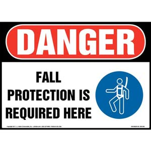 Danger: Fall Protection Is Required Here - OSHA Sign with Graphic