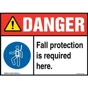 Danger: Fall Protection Is Required Here - ANSI Sign with Graphic