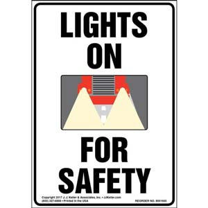 Lights On For Safety Label