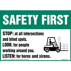 Safety First: Stop, Look & Listen Sign with Icon - OSHA