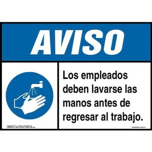 Notice: Employees Must Wash Hands Before Returning To Work Spanish Sign with Icon - ANSI