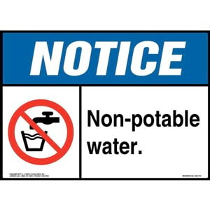 Notice: Non-Potable Water Sign with Icon - ANSI