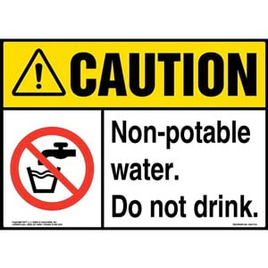 Caution: Non-Potable Water. Do Not Drink Sign with Icon - ANSI
