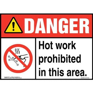 Danger: Hot Work Prohibited In This Area! Sign with Icon - ANSI