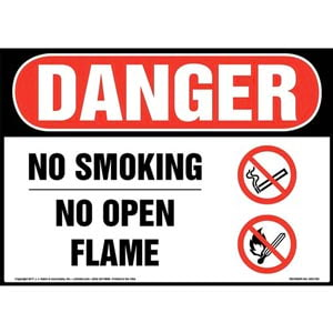 Danger: No Smoking No Open Flame Sign with Icon - OSHA