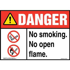 Danger: No Smoking. No Open Flame Sign with Icon - ANSI