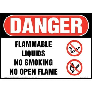 Danger: Flammable Liquids No Smoking No Open Flame Sign with Icon - OSHA