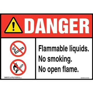 Danger: Flammable Liquids. No Smoking. No Open Flame Sign with Icon - ANSI