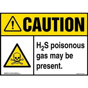 Caution: H2S Poisonous Gas May Be Present Sign with Icon - ANSI