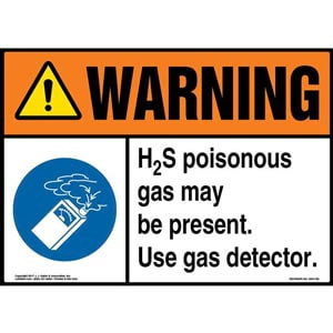Warning: H2S Poisonous Gas May Be Present. Use Gas Detector Sign with Icon - ANSI
