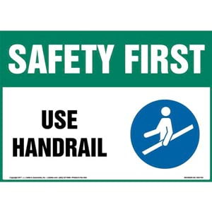 Safety First: Use Handrail Sign with Icon - OSHA