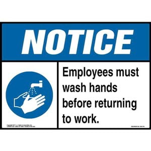 Notice: Employees Must Wash Hands Before Returning To Work Sign with Icon - ANSI