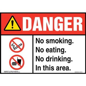 Danger: No Smoking. No Eating. No Drinking. In This Area Sign with Icon - ANSI