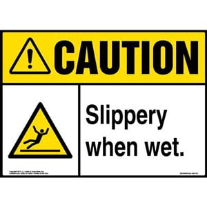 Caution: Slippery When Wet Sign with Icon - ANSI