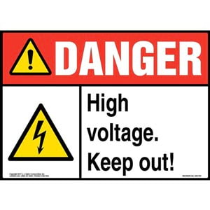 Danger: High Voltage. Keep Out! Sign with Icon - ANSI