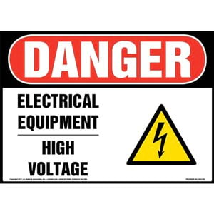 Danger: High Voltage Sign with Icon - OSHA