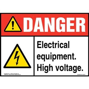 Danger: High Voltage Sign with Icon - ANSI